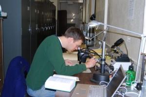 Dr. Matt Palmer verifing a specimen ID